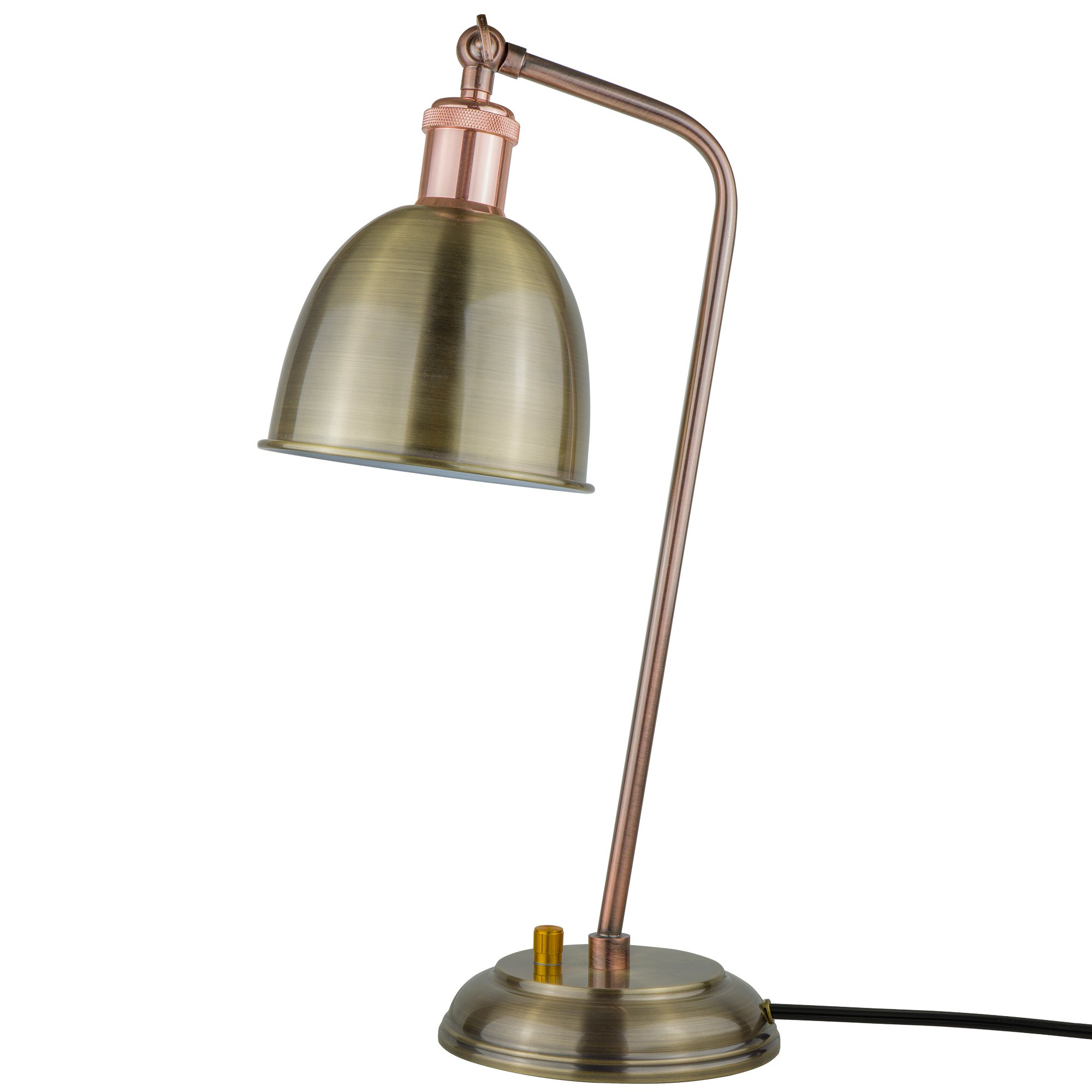 Starthi Antique Brass Table Lamp Industrial Dimmable Desk Light with Bronze Adjustable Lamp Shade by Starthi