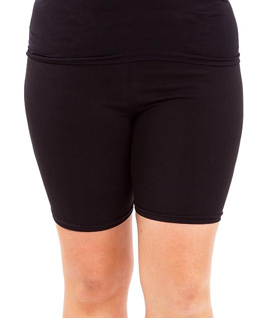 6c90a4b09a Black Woman Plus Size Cotton Spandex Mid Thigh Shorts, 2XL at Amazon ...