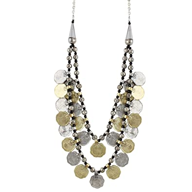 Aradhya Designer Oxidized Coin Design German Silver Coin Necklace for Women