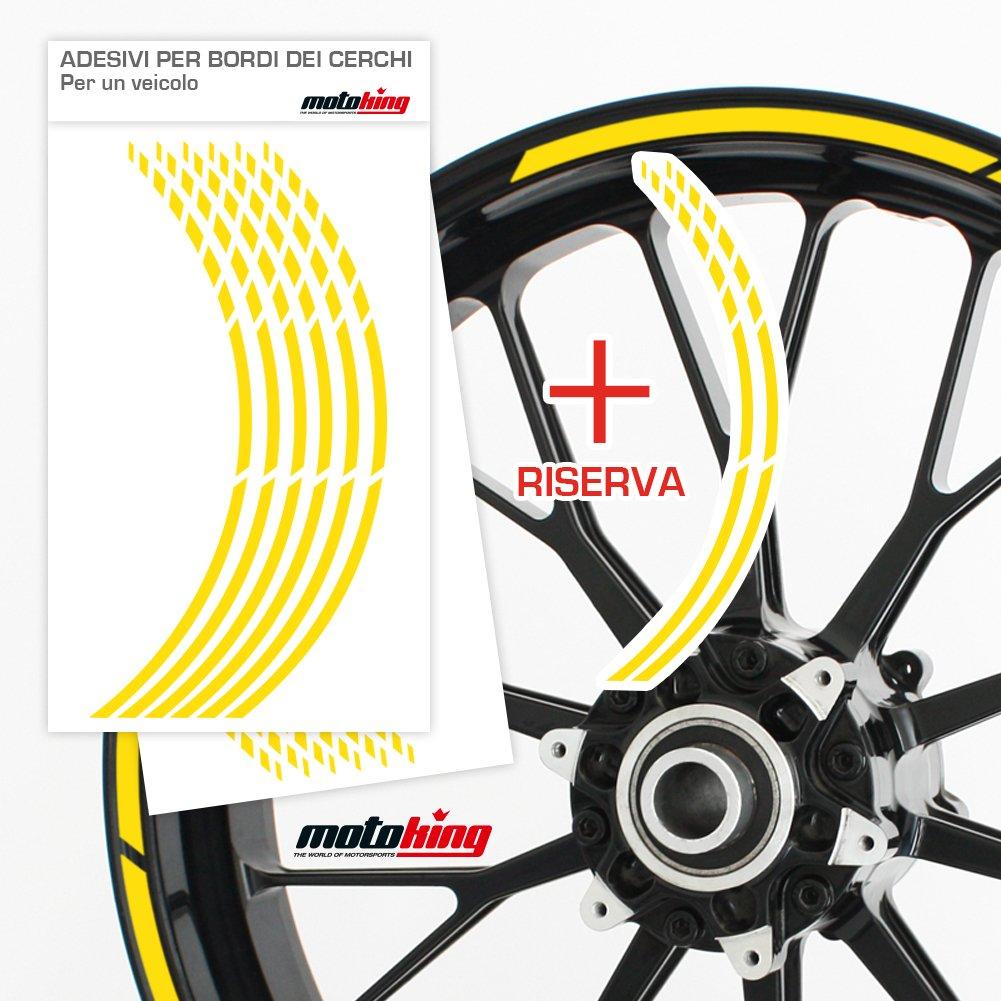 Colore a Scelta Kit Completo per Cerchioni da 15 a 19 Motoking Adesivi per Il Bordo del cerchione GP Progettazione Grafica