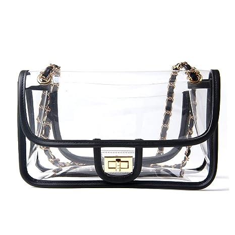 5c0c3ddf9f5d Freie Liebe Clear Purse Turn Lock Handbags NFL Approved Chain Cross Body  Shoulder Bags