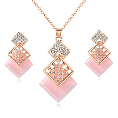707e04fe5 OUFO Jewelry Sets for Women Crystal Rose Gold Plated Necklace and Earrings  Square Pink Pendant Wedding