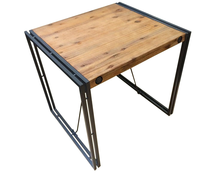 Table style industriel - Structure métal et plateau en bois d'acacia - 80 x 70 cm - Facture et finitions soignées