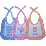 Littly Premium Baby Bibs with Frill (Pack of 3, Blue/Peach/Pink)