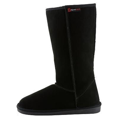 "c724d18c07 alpine swiss Women's Mia 12"" Tall Shearling Boots Genuine Suede, Black, 6 B"