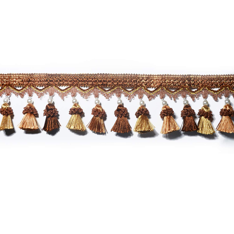 Cream-Coloured BEL AVENIR Tassel Fringe Trim 6.8 Yard x 3.15 Inches Luxury Beaded Tassel Fringing Trimmings