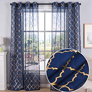 Kotile Navy Blue Sheer Curtains 84 Inch Long for Living Room - Gold Moroccan Tile Draperies Ring Top Bedroom, 52 x 84 Inch, Set of 2 Panels