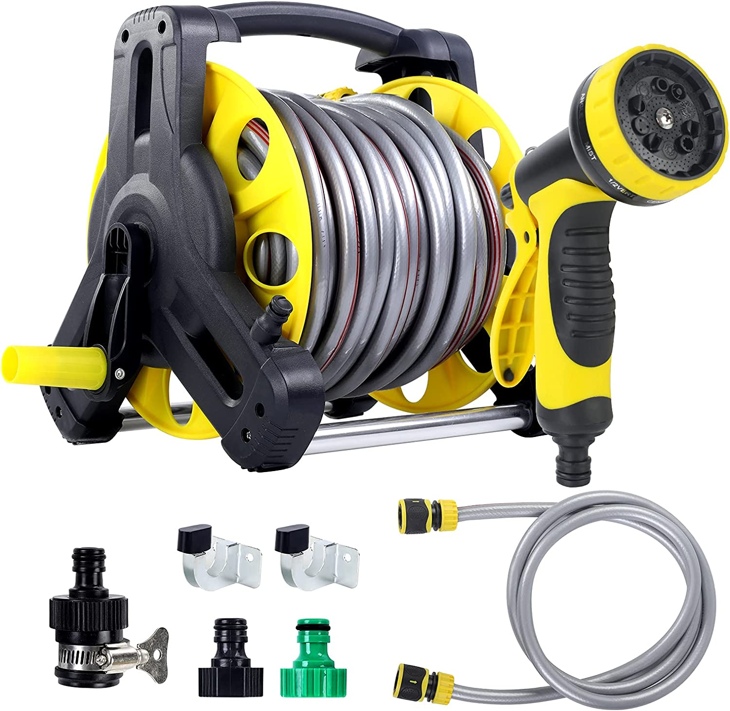 Quarut Mobile Garden Hose Reel Kit Apply to Household Gardening and Cleaning.Included 1/2in x100ft Hose and Garden Lead-in Hose10ft,Hose Nozzle,3/4in MaleConnectors,Universal Tap Connector,Hook.