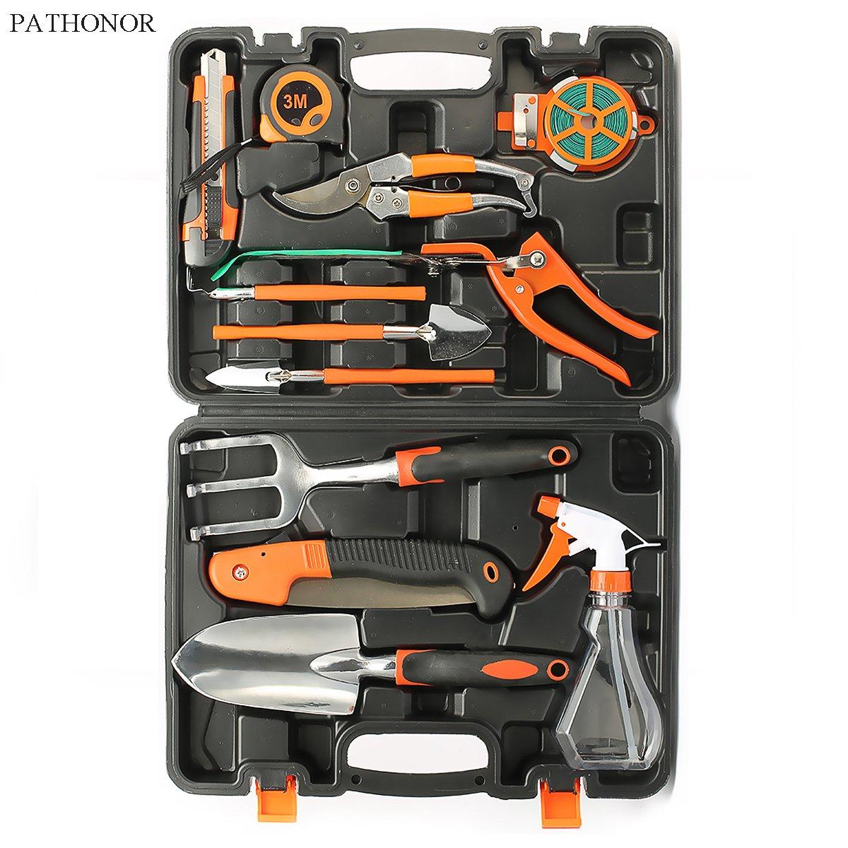 PATHONOR Garden Tool Set, 12 Piece Garden Heavy Duty Tools Set Kit with Hard Storage Case, Secateurs, Pruning Saw, Trowel Pruners, Rakes - Garden Gifts for Men & Women