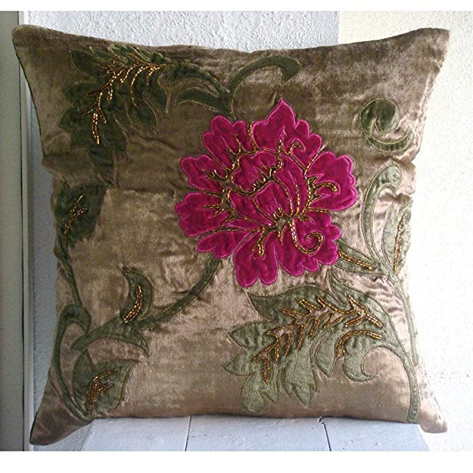 The HomeCentric Handmade Brown Pillow Covers, Multicolor Applique Floral Pillows Cover, 20