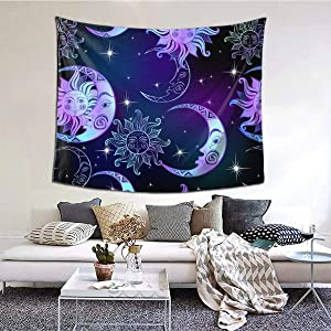N/W Sun Moon and Stars Tapestry Space Background Tapestry Wall Hanging for Home Decor Wall Hanging Living Room Bedroom Dorm(60 X 51 Inches)