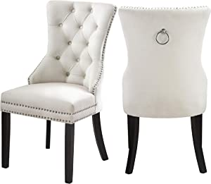 """Meridian Furniture Nikki Velvet Dining Chair with Wood Legs, Luxurious Button Tufting, and Chrome Nailhead Trim, 23"""" W x 23"""" D x 40"""" H, Cream, Set of 2"""