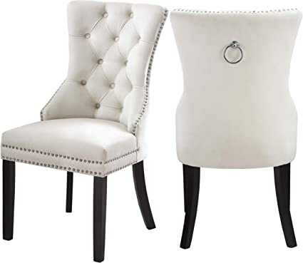 39a171a9e6c2 Meridian Furniture 740Cream-C Nikki Velvet Dining Chair with Wood Legs,  Luxurious Button Tufting