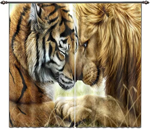 LB Animal Decor Curtain Kids Room Drakening Drapes, King of Jungle Lion and Tiger Printed House Decorations, Living Room Bedroom Decor Window Treatment, 84×84 Inches 2 Panels Size ,