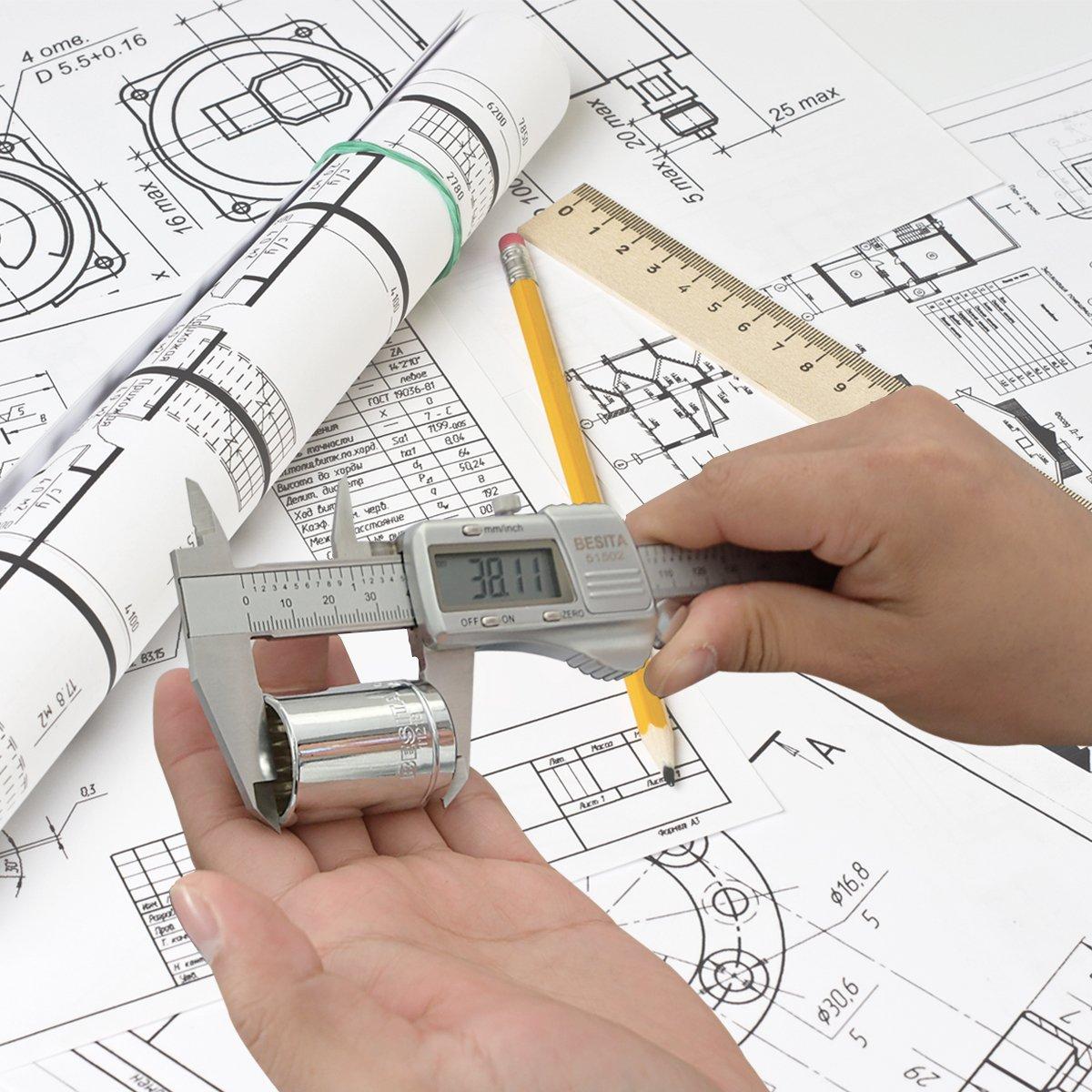 Digital Caliper with Accurate Measurement Inch/Metric ,0-6 Inch/150 mm BESITA Stainless Steel Vernier Caliper IP54 Waterproof Electronic Measuring Tool by BESITA (Image #5)