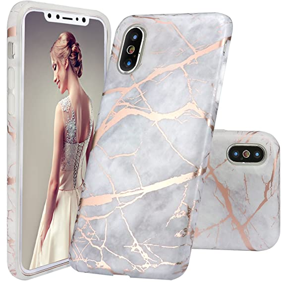 separation shoes 56fad a3cb4 DOUJIAZ iPhone Xs Case,iPhone X Case, Gray Rose Gold Marble Design Clear  Bumper TPU Soft Case Rubber Silicone Skin Cover Case for iPhone X 2017 /XS  ...