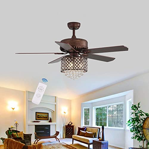 52Inch Antique Crystal Ceiling Fan LED Light Bulbs Unique Love Shape Lampshade 5 Reverse Wood Blades 3 Speed Remote Control Ceiling Fan Decorates Home