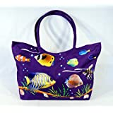 Waterproof Jumbo Purple Canvas Beach Bag Tropical Fish Design Zipper Closure 24 x 15 x 6""