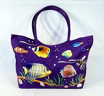 Amazon.com: Waterproof Jumbo Purple Canvas Beach Bag Tropical Fish ...