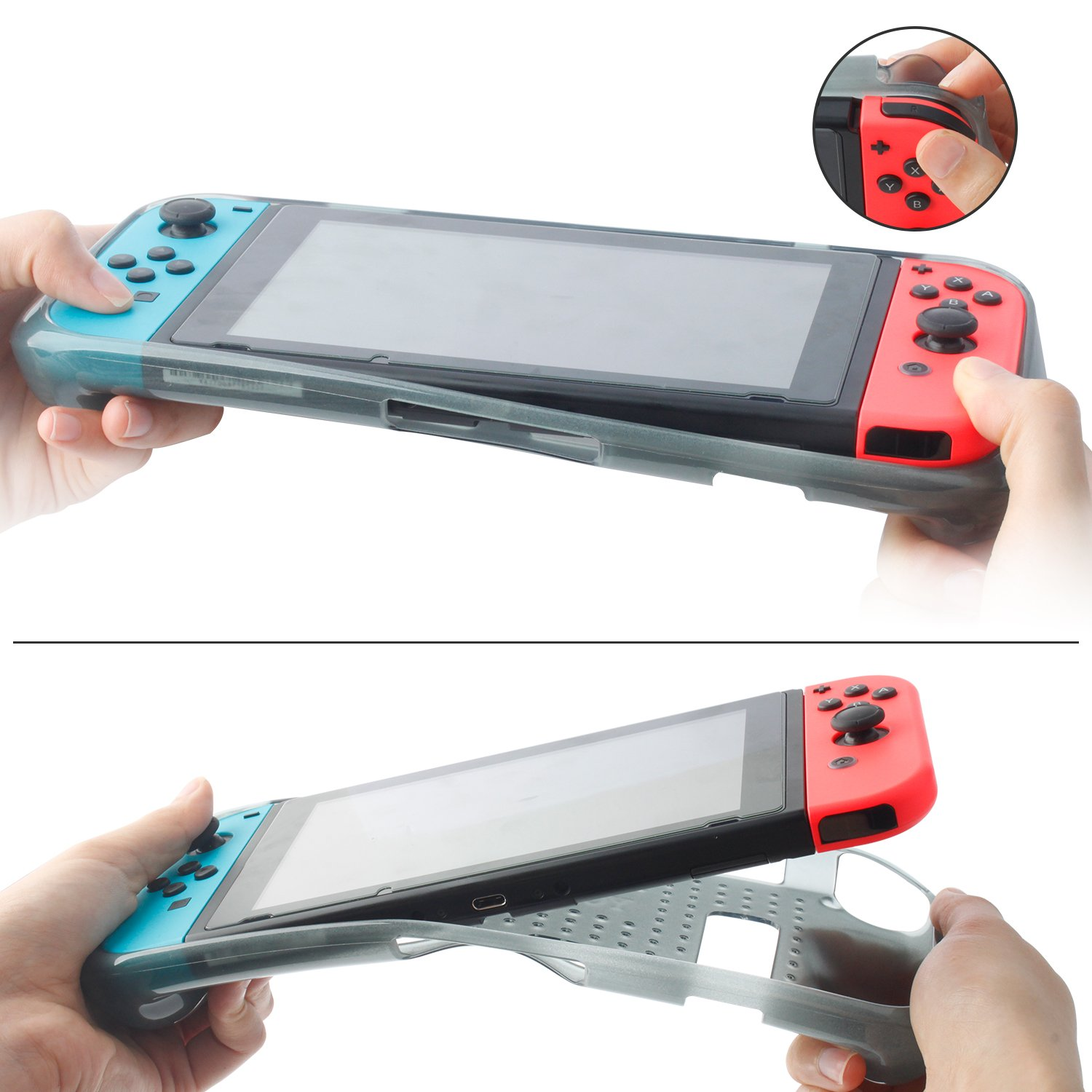 Protective Case for Nintendo Switch 2018,Grip Cover Case with Shock-Absorption and Anti-Scratch Design Soft & Comfortable TPU Case for Nintendo Switch Console (Grey)