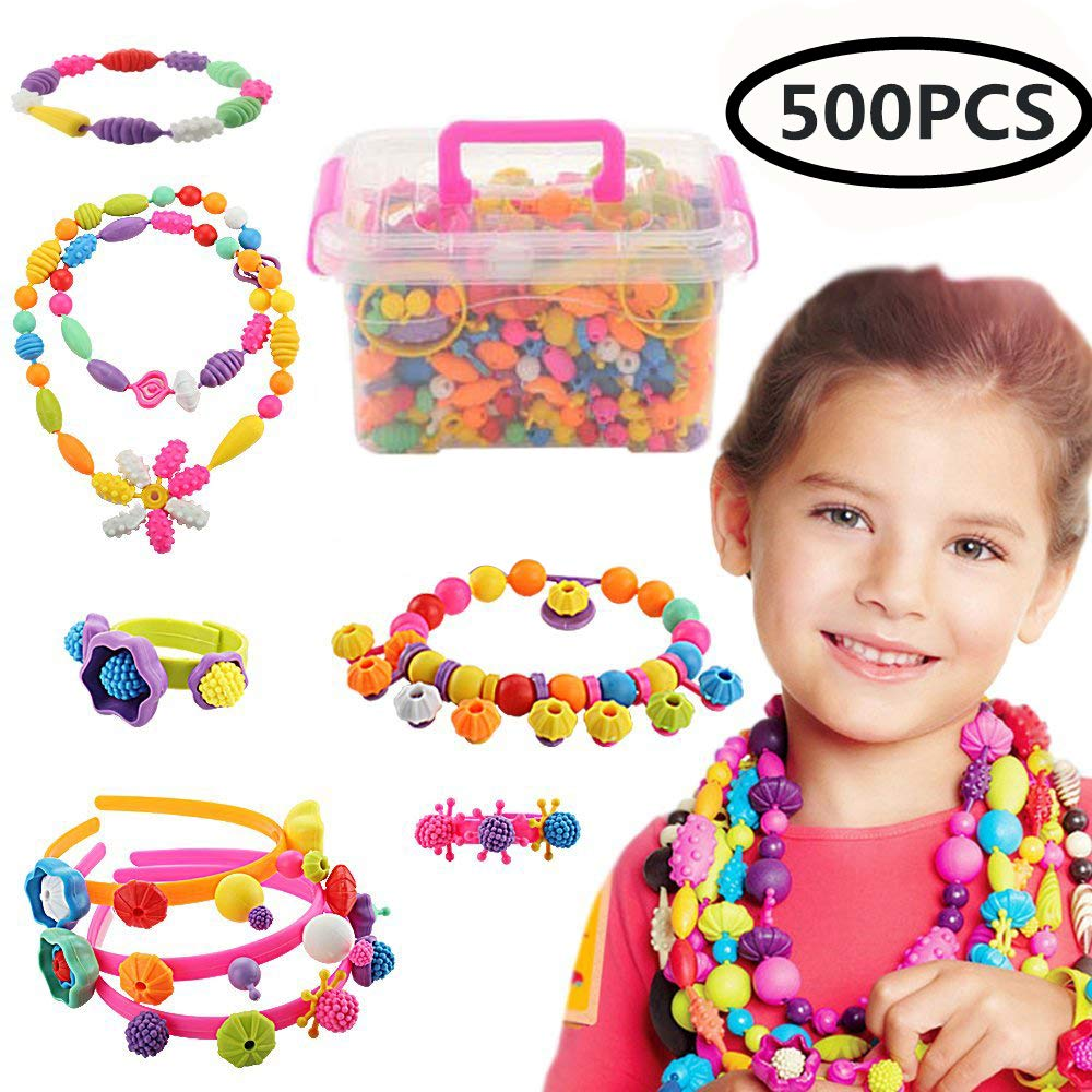 Kids Snap Beads Set Creative DIY Jewelry Making Kit for Girls Necklace and Bracelet Art Crafts Gifts Toys 500 Pcs