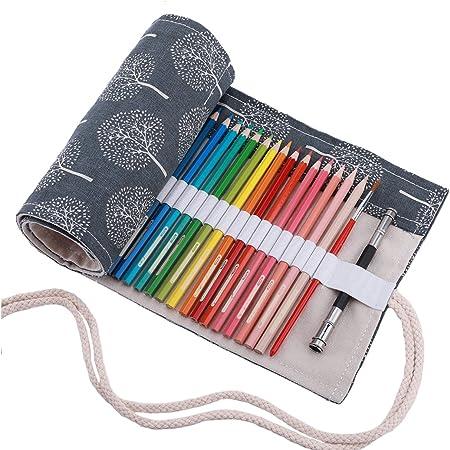 Abaría - Bolso para lápices, Grande Estuche Enrollable para 72 lapices Colores, portalápices de Lona, Bolsa Organizador lápices para Infantil Adulto, árbol Gris 72: Amazon.es: Hogar