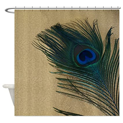 Image Unavailable Not Available For Color CafePress Metallic Gold Peacock Decorative Fabric Shower Curtain