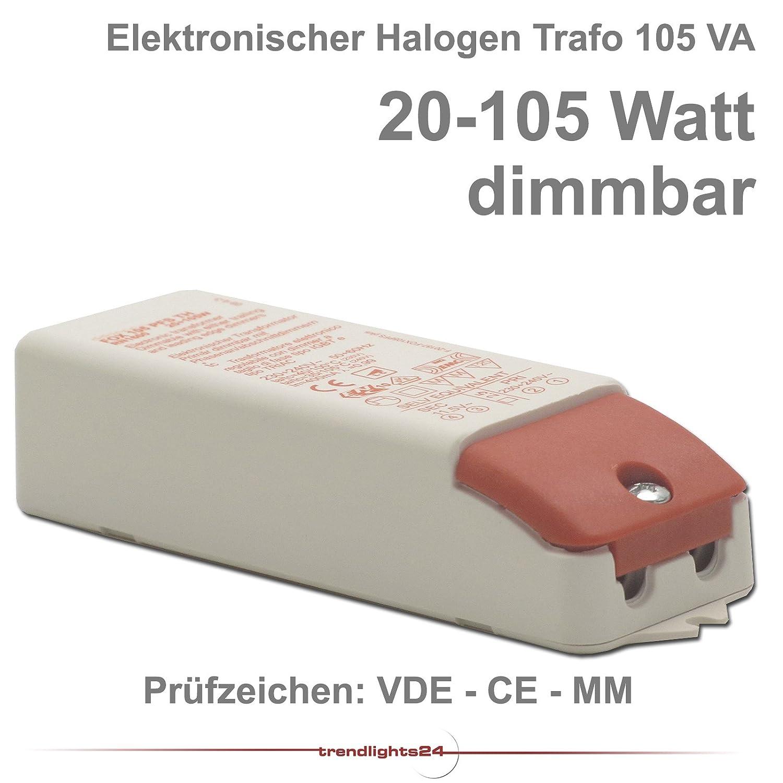 Qualitäts HALOGEN Trafo 12V Niedervolt 105VA 20-105 Watt CE VDE MM ...