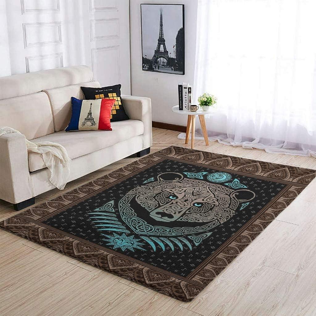 Knowikonwn Alfombra tradicional de oso vikingo para sala de estar, para dormitorio, mesita de noche, color blanco, 122 x 183 cm