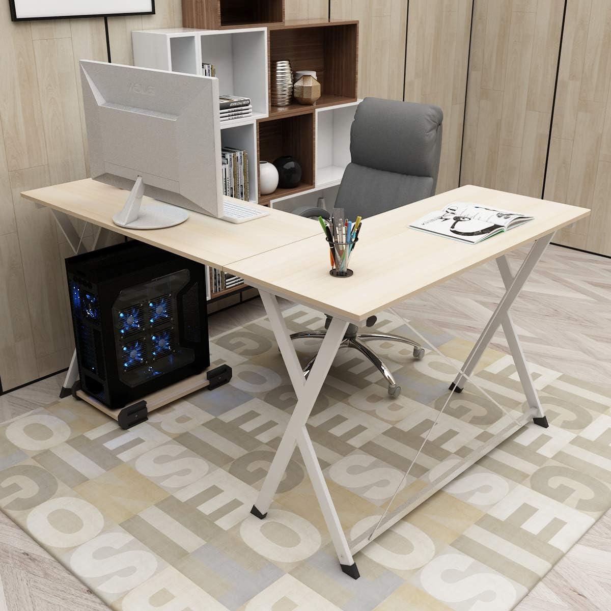 DlandHome L Mesa Escritorio de la computadora 120cm+110cm, Ordenador Portátil para PC Estación de Trabajo de Estudio Mesa de Esquina con CPU Stand, Maple: Amazon.es: Hogar