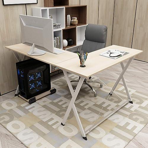 sogesfurniture L-Shaped Desk Corner Table Computer Desk Workstation Desk PC Laptop Office Desk L Desk