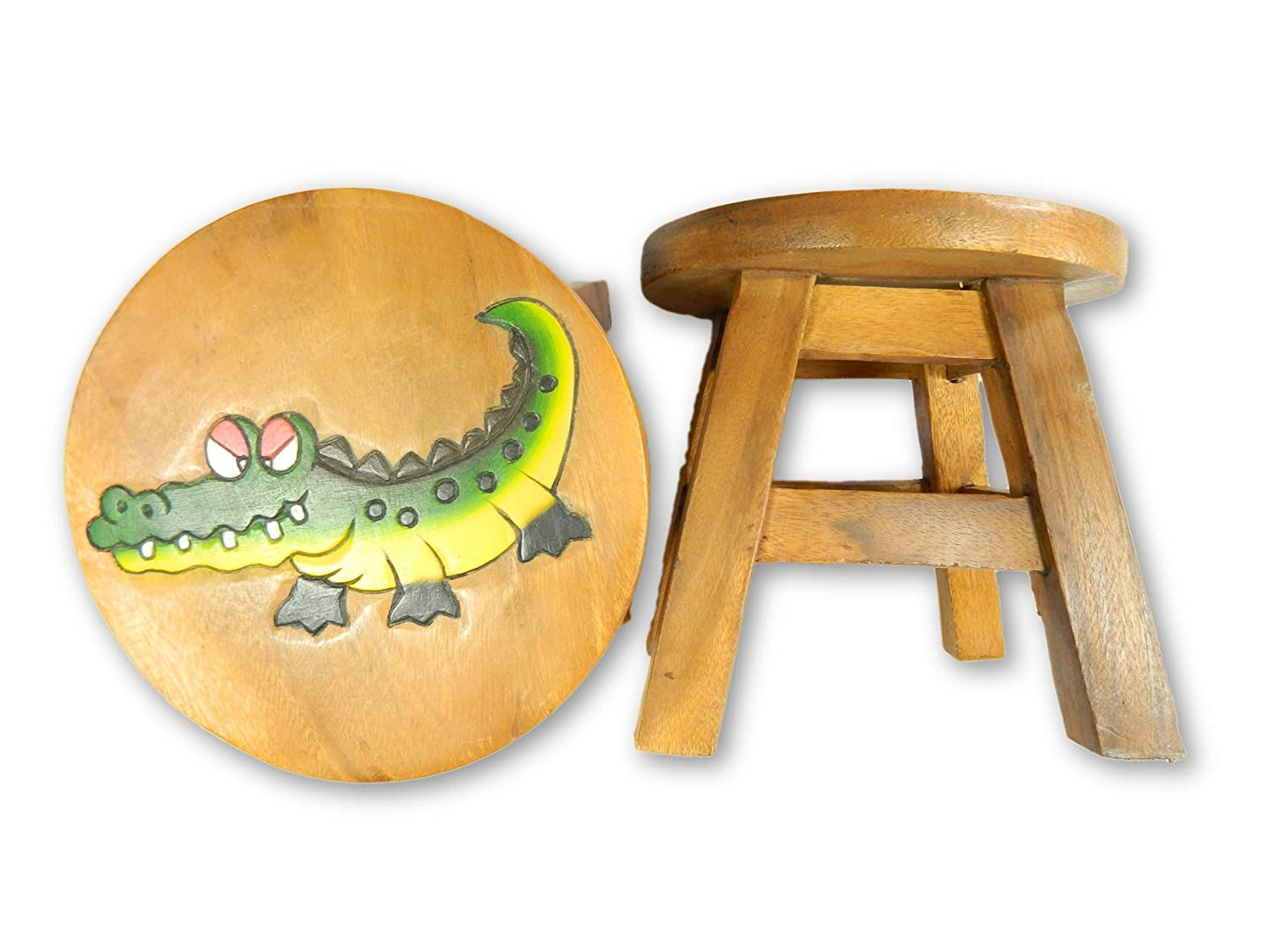 Thai Gifts Childrens Wooden Stool - Crocodile