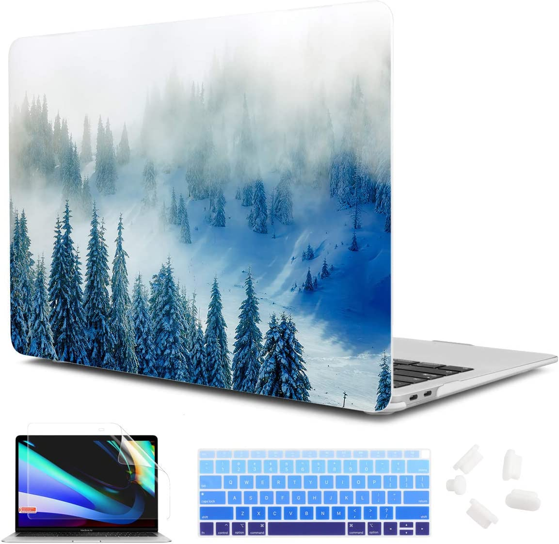 CiSoo Forest Case for MacBook Air 13 inch 2020 2019 2018 Release Model A2337 M1 A2179 A1932, Matte Laptop Hard Shell Case Cover with Match Color Keyboard Cover & Screen Protector for Air 13''- Forest