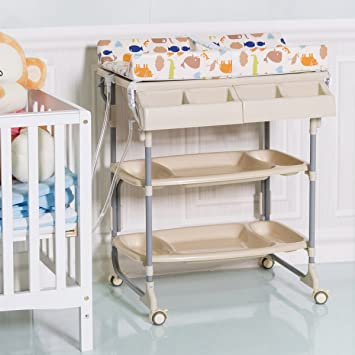 Nice Costway 2 IN 1 Baby Changing Table Bath Tub Rolling Unit Station Storage  Trays Dresser