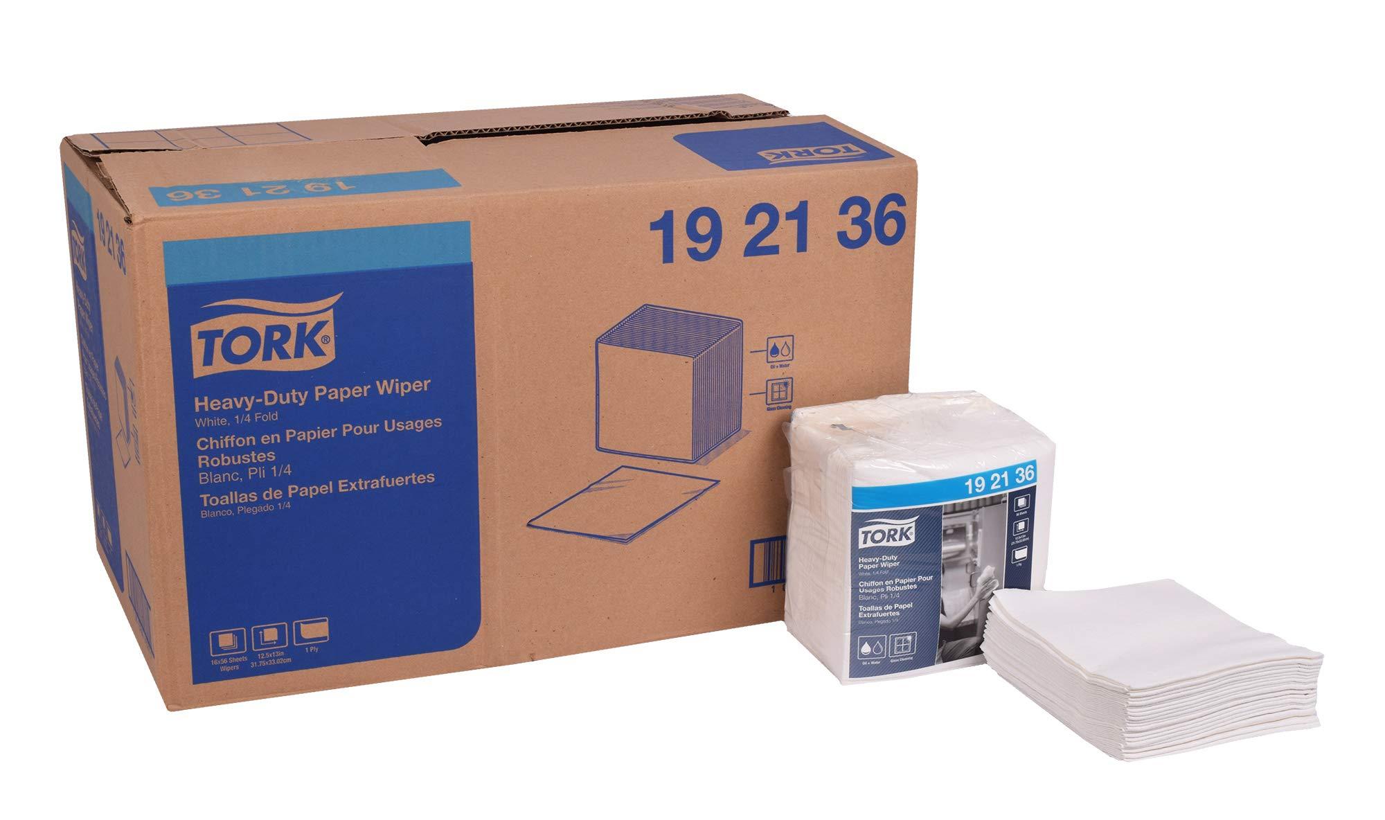 Tork 192136 Heavy-Duty Paper Wiper, 1/4 Fold, 1-Ply, 12.5'' Width x 13'' Length, White (Case of 16 Packs, 56 per Pack, 896 Towels) by Tork