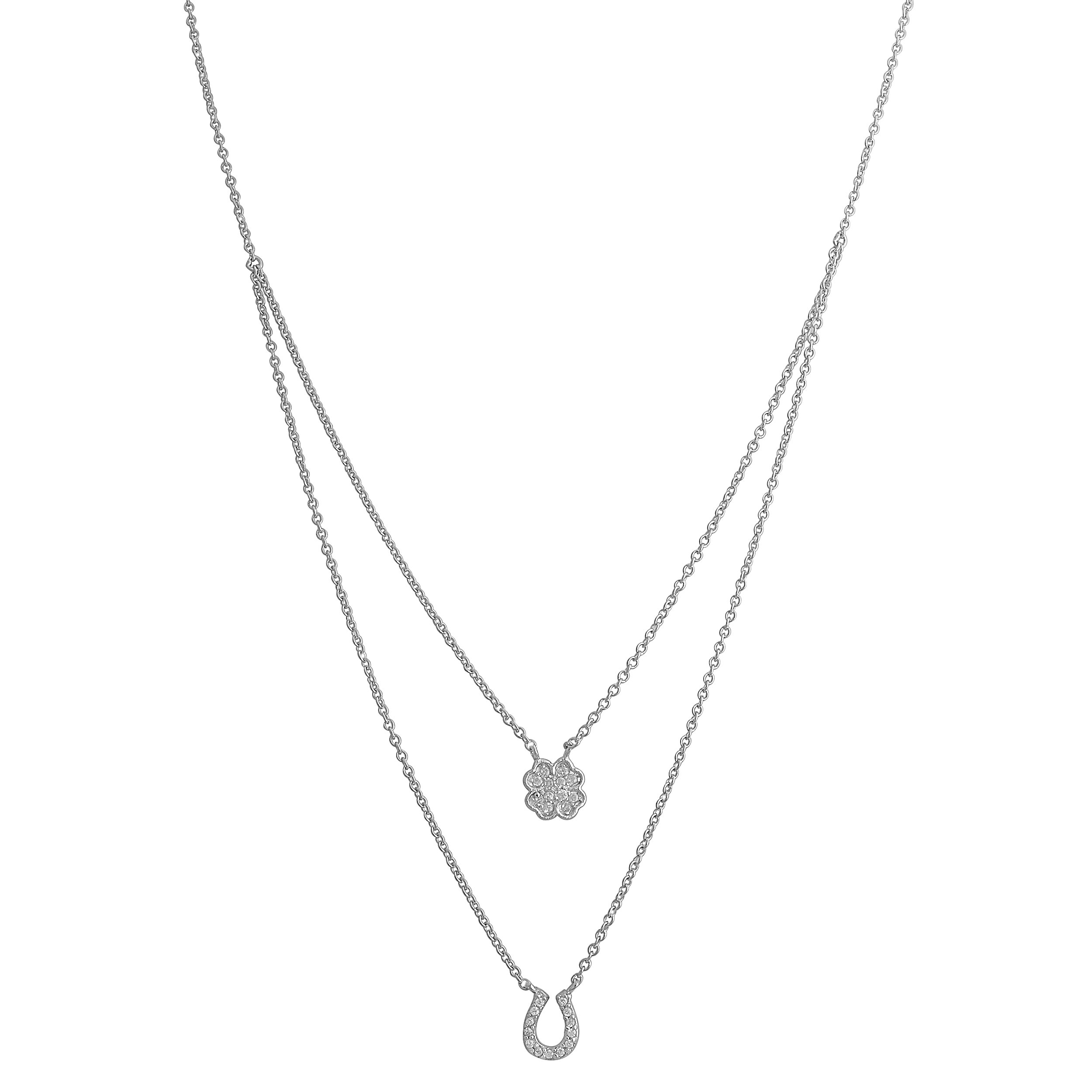 Sterling Silver Cubic Zirconia Clover and Horseshoe Charm Layered Necklace (16 inch)