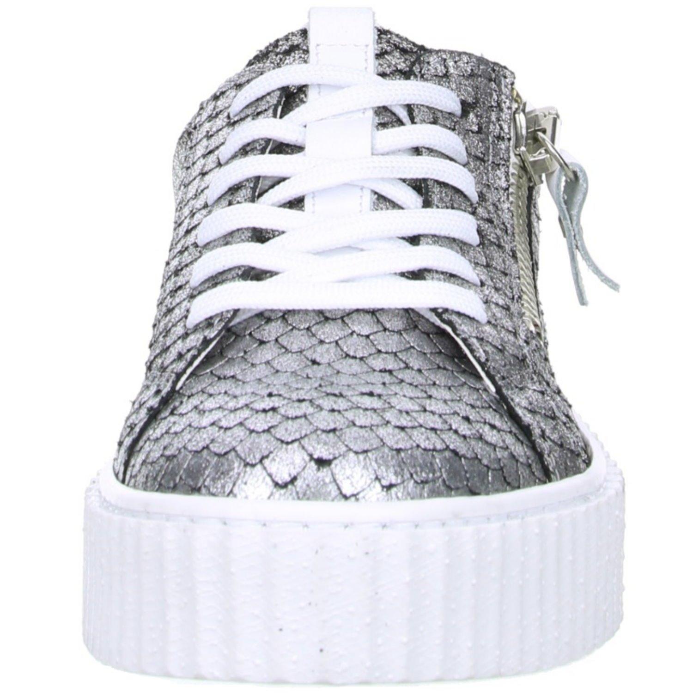 ONLINE SHOES Damen Sneaker Plateau Reptil Schlangenoptik Silber, Größe:41, Farbe:Silber