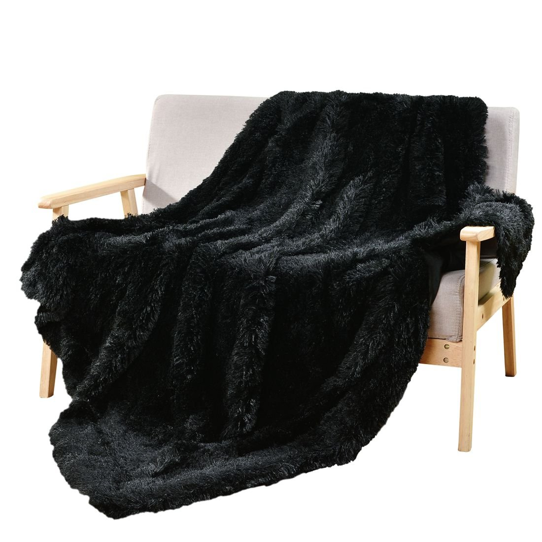 DECOSY Super Soft Faux Fur Throws Warm Cozy Sofa Blanket Black 50\