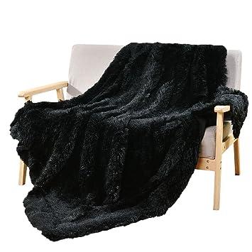 DECOSY Super Soft Faux Fur Throws Warm Cozy Sofa Blanket Black 50\