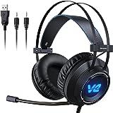 Vehemo Cascos Gaming Auriculares Profesionales Headset para PS4 PC Xbox One Mac Cancelación de Ruido con Micrófono Luz LED Estéreo Juego (GH-S7)