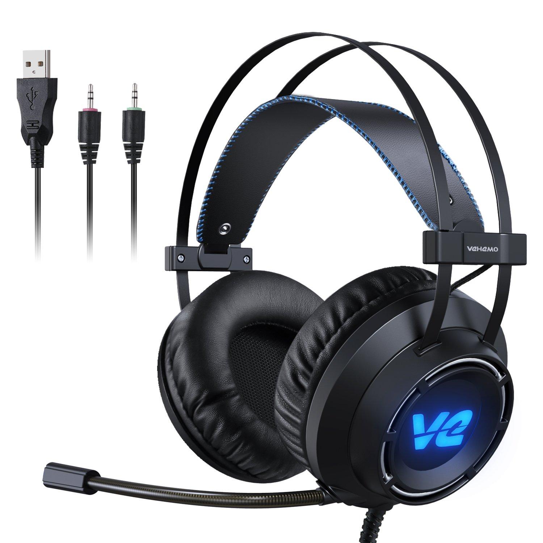 Cascos Gaming Auriculares Profesionales Headset para PS4 PC Xbox One MAC Cancelación de Ruido con Micrófono Luz LED Estéreo Juego