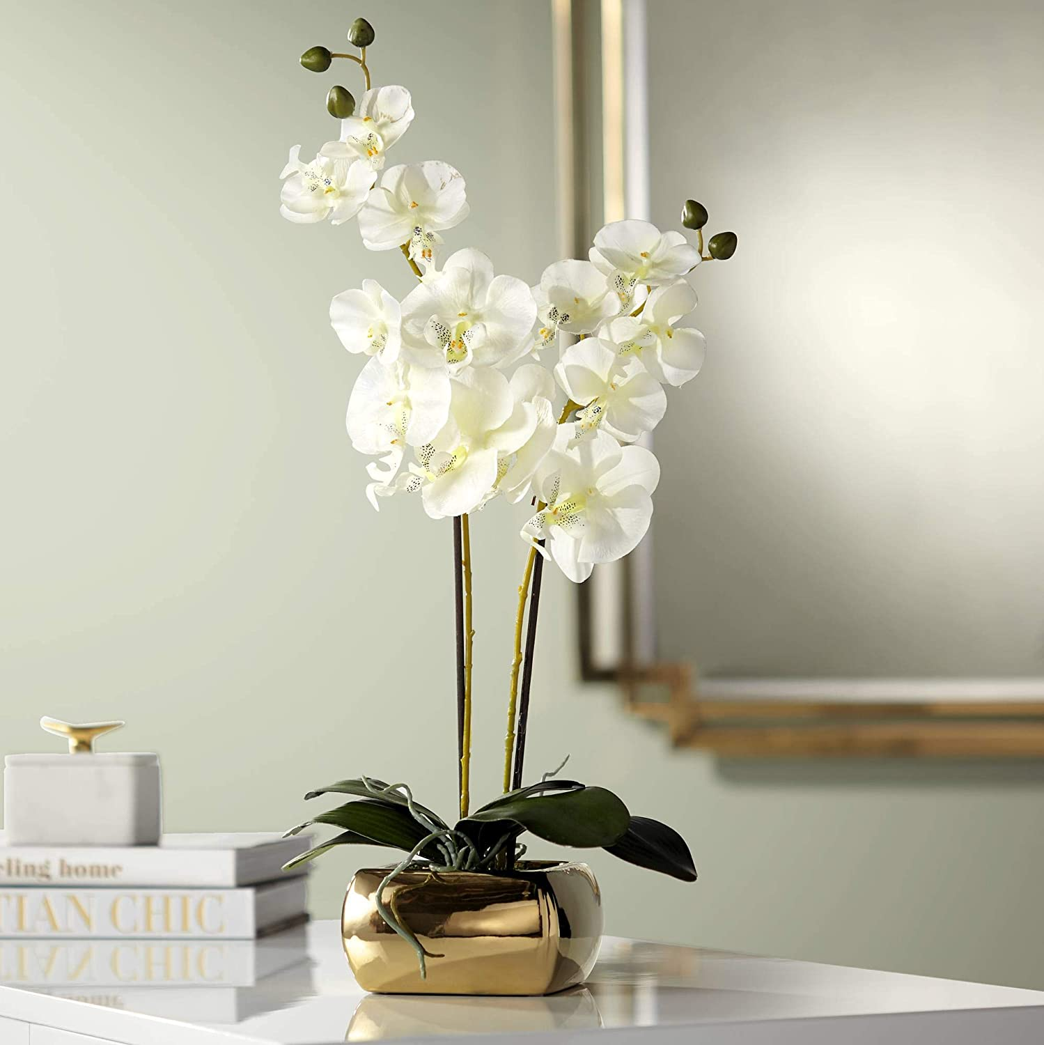 "Dahlia Studios White Orchid 22"" High Faux Flowers in Gold Ceramic Pot"