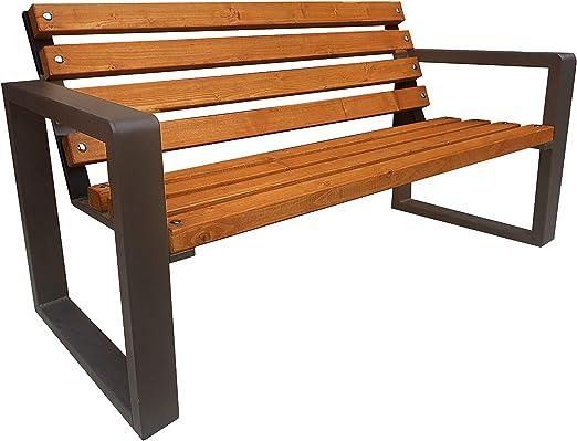Primario Grande Banco de jardín de Madera Maciza, para jardín, balcón, Madera, Metal, Resistente a la Intemperie, Muebles de jardín, Adultos y niños, Palisandro: Amazon.es: Jardín