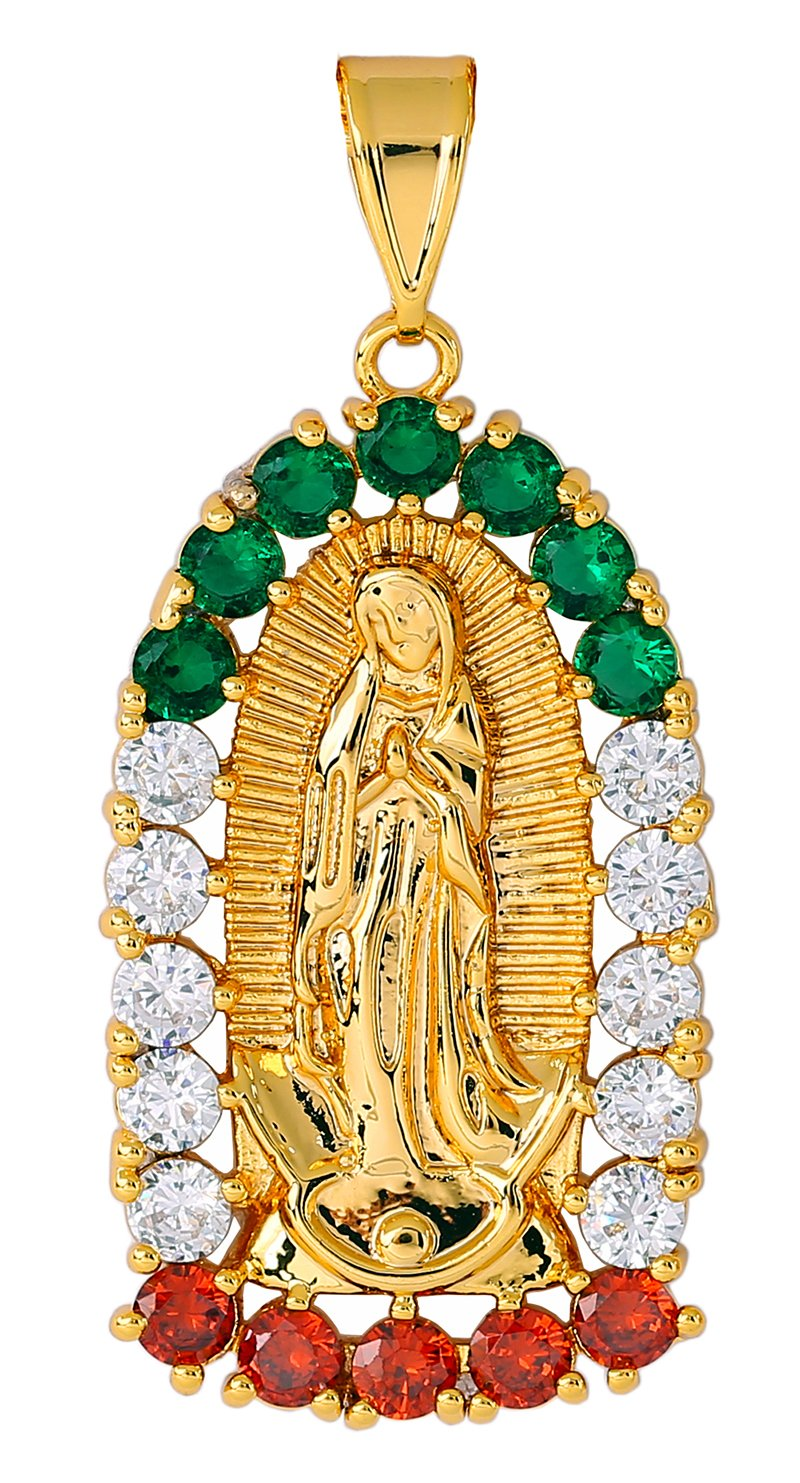 18K Gold Pendant Necklace Religious Pendant Virgin Mary Jewelry Medal With Varies Zirconia Stone Design By YYA