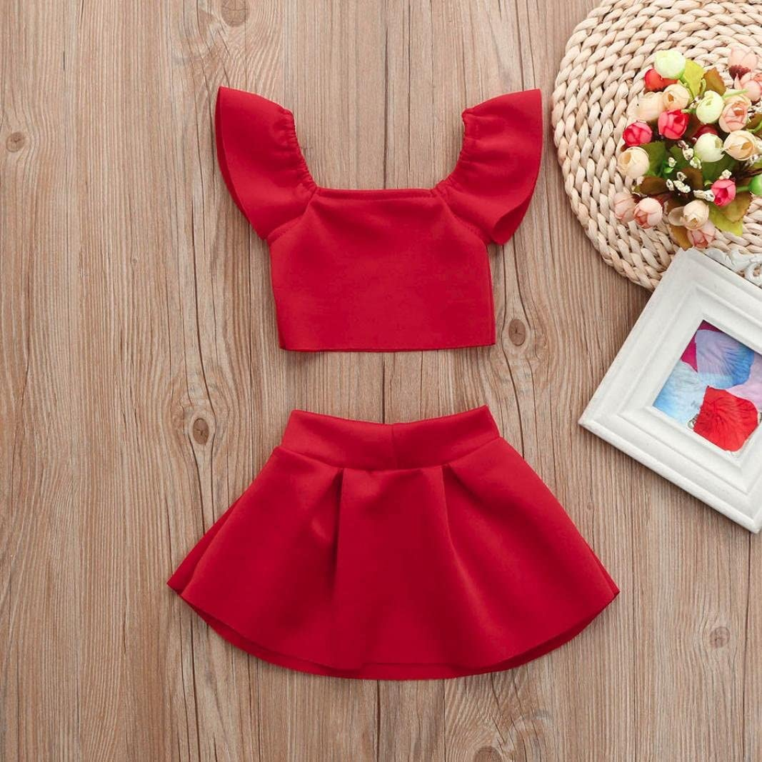 WARMSHOP for 0-24 Months Baby Girls Red Off Shoulder Ruffle Tops+Bow Sundress Party Dance Princess Dress