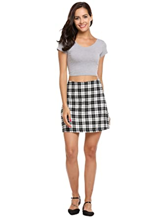 05d406f13 ACEVOG Women's Summer Cotton Light Weight Check Print A-line Mini Skirt  (Black,