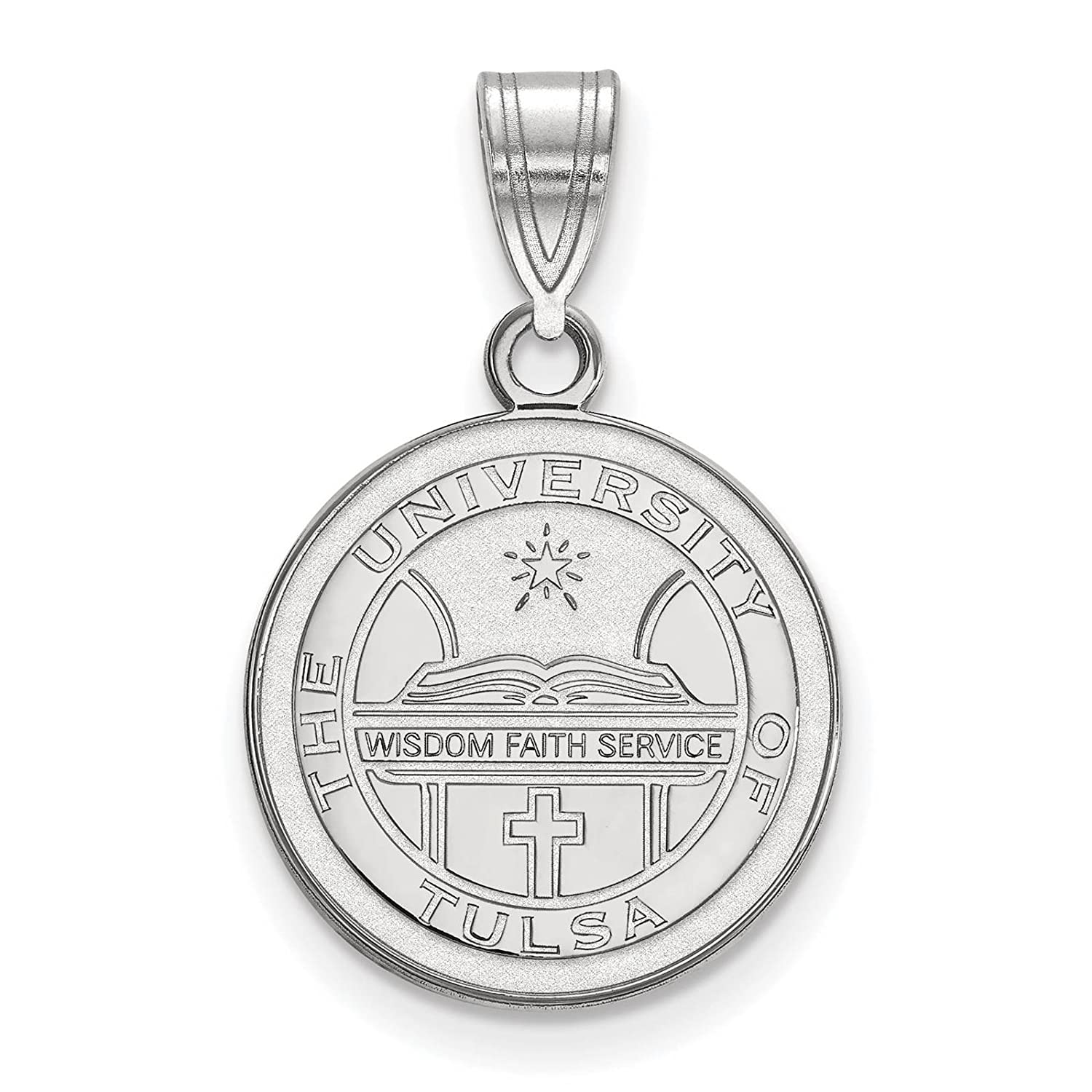925 Sterling Silver Rhodium-plated Laser-cut The University of Tulsa Medium Crest Pendant