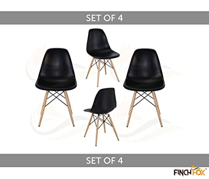 Eames Replica Dining Chair/Cafeteria Chair/Cafe Chair/Armless Side Chairs Molded ABS Plastic with Wood & Black Accents Iconic American Mid-Century Styling (Black) (Set of 4) Color by Finch Fox