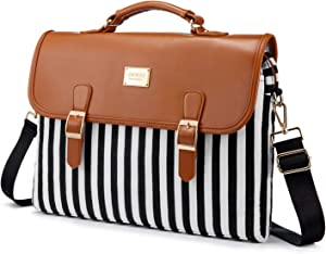 Computer Bag Laptop Bag for Women Cute Laptop Sleeve Case for Work College, Black Stripe Brown, 15.6-Inch