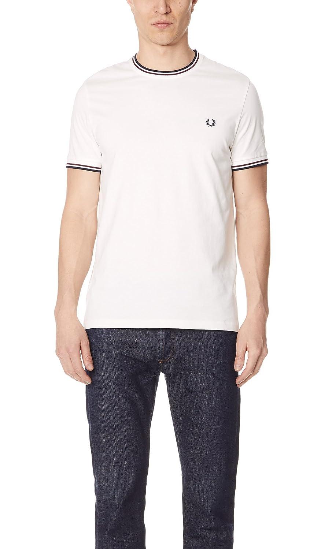 Fred Perry Hombres Doble con Punta t-Shirt Blanco como La Nieve ...